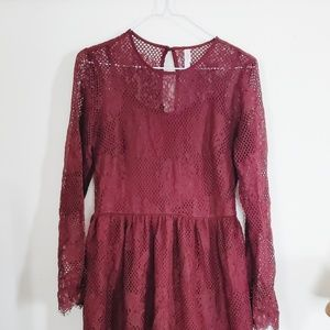 Maroon Lace Detail Dress